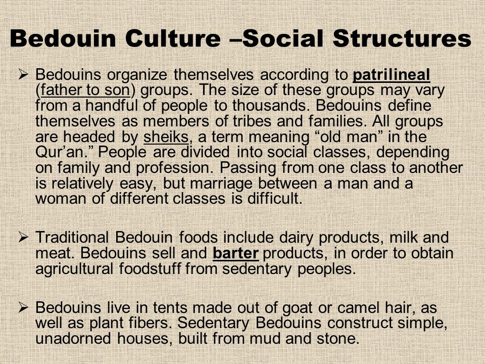 Bedouin Culture –Social Structures