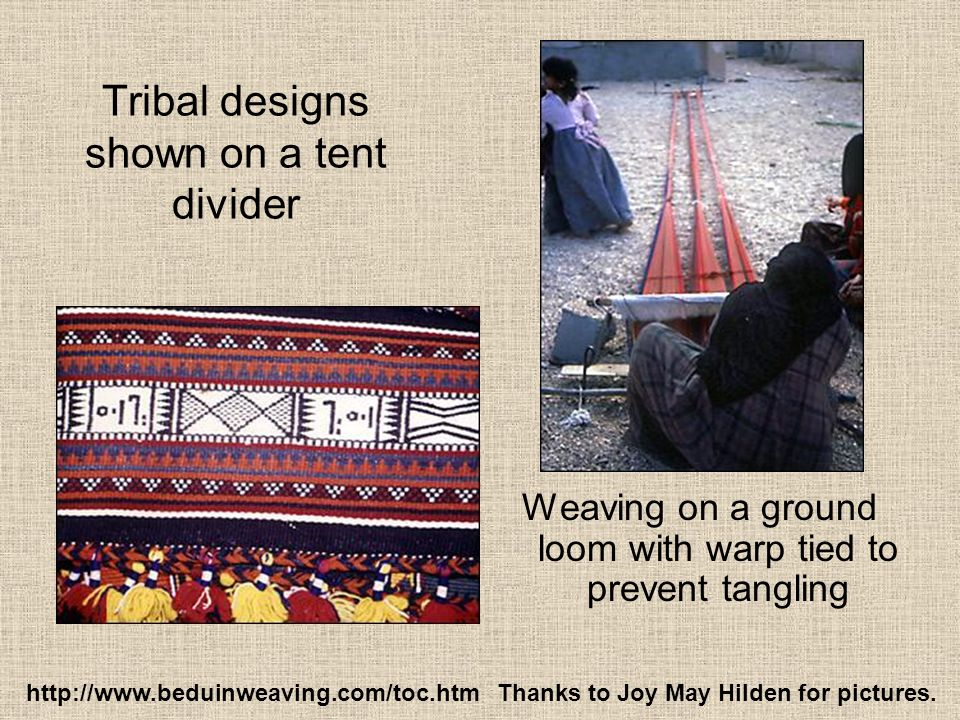 Tribal designs shown on a tent divider