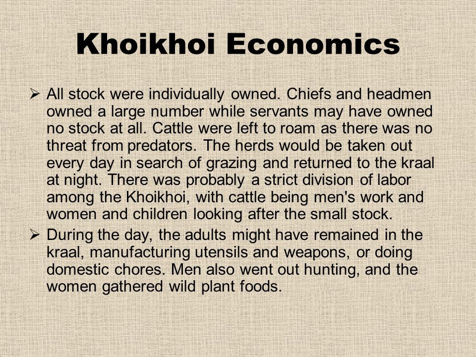 Khoikhoi Economics