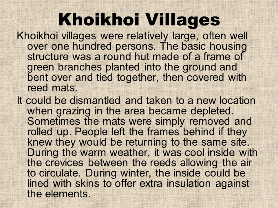 Khoikhoi Villages