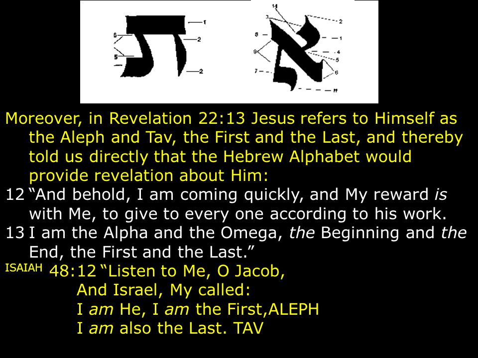 Moreover, in Revelation 22:13 Jesus refers to Himself as the Aleph and Tav, the First and the Last, and thereby told us directly that the Hebrew Alphabet would provide revelation about Him: