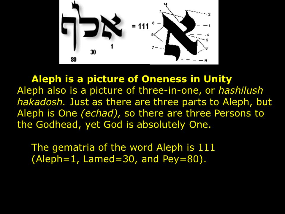Aleph is a picture of Oneness in Unity Aleph also is a picture of three-in-one, or hashilush hakadosh. Just as there are three parts to Aleph, but Aleph is One (echad), so there are three Persons to the Godhead, yet God is absolutely One.