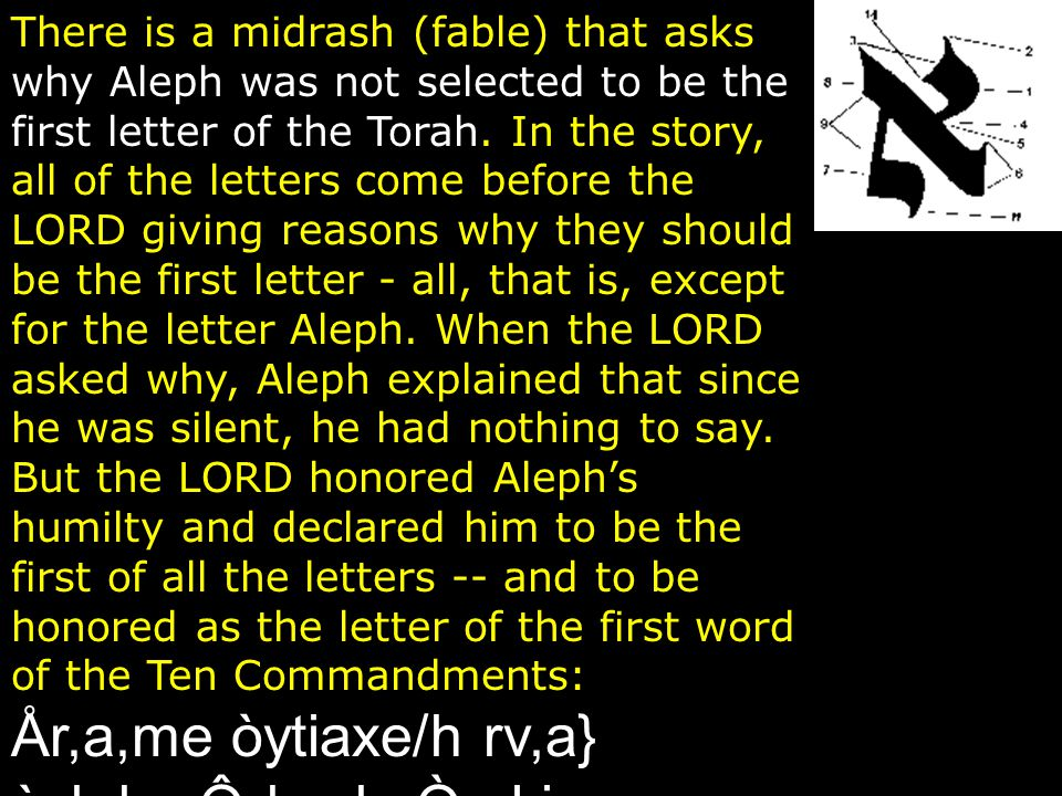 There is a midrash (fable) that asks why Aleph was not selected to be the first letter of the Torah.