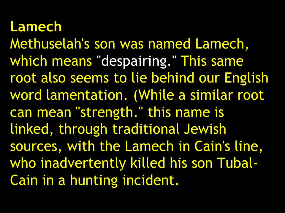 Lamech Methuselah s son was named Lamech, which means despairing
