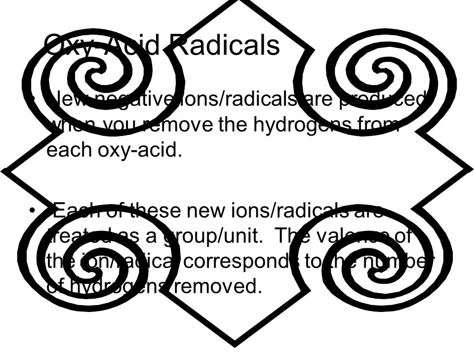 Oxy-Acid Radicals New negative ions/radicals are produced when you remove the hydrogens from each oxy-acid.