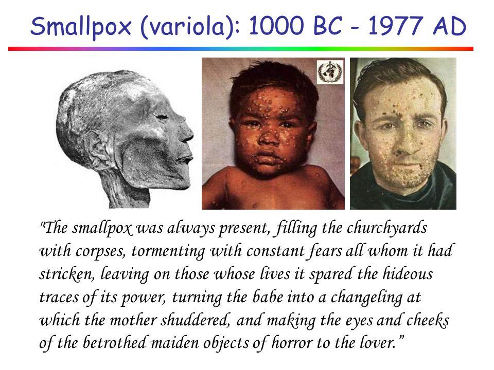 Smallpox (variola): 1000 BC - 1977 AD