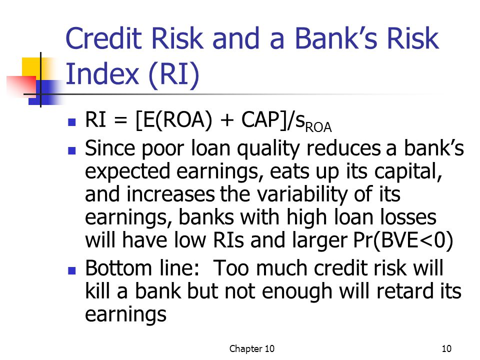 Credit Risk and a Bank's Risk Index (RI)