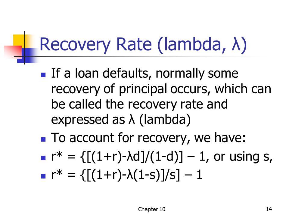 Recovery Rate (lambda, λ)