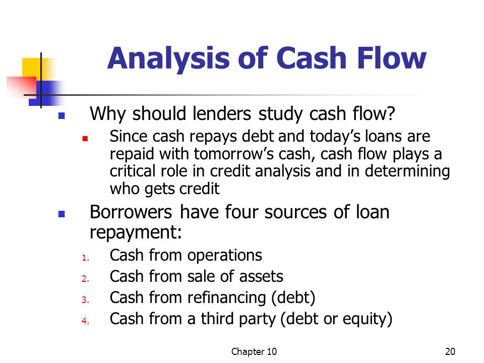 Analysis of Cash Flow Why should lenders study cash flow