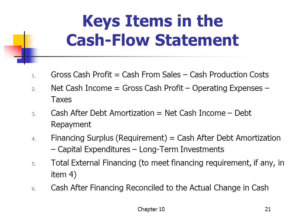 Keys Items in the Cash-Flow Statement