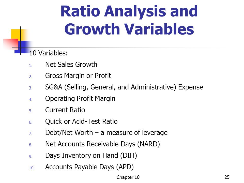 Ratio Analysis and Growth Variables