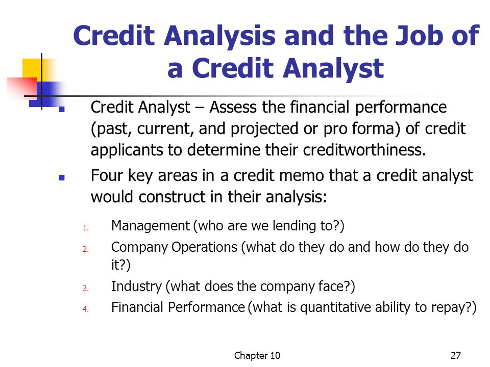 Credit Analysis and the Job of a Credit Analyst