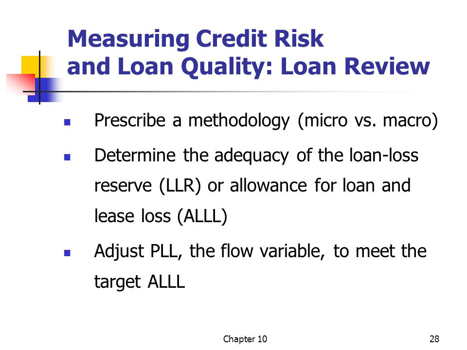 Measuring Credit Risk and Loan Quality: Loan Review