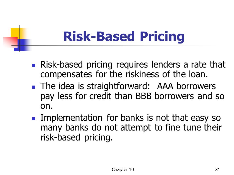 Risk-Based Pricing Risk-based pricing requires lenders a rate that compensates for the riskiness of the loan.