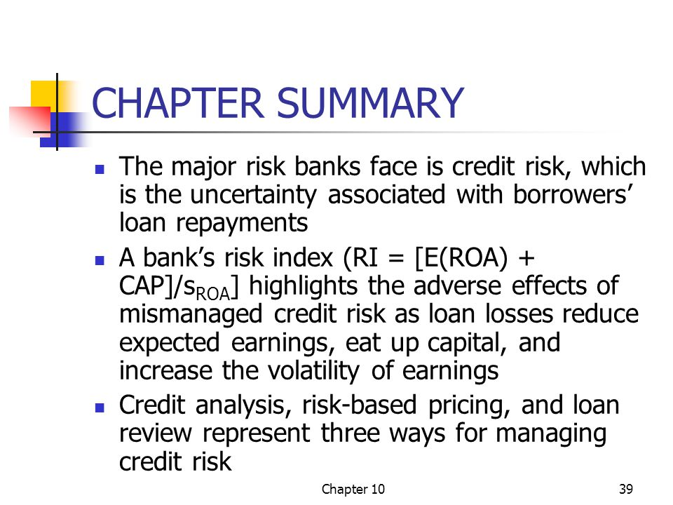 CHAPTER SUMMARY The major risk banks face is credit risk, which is the uncertainty associated with borrowers' loan repayments.