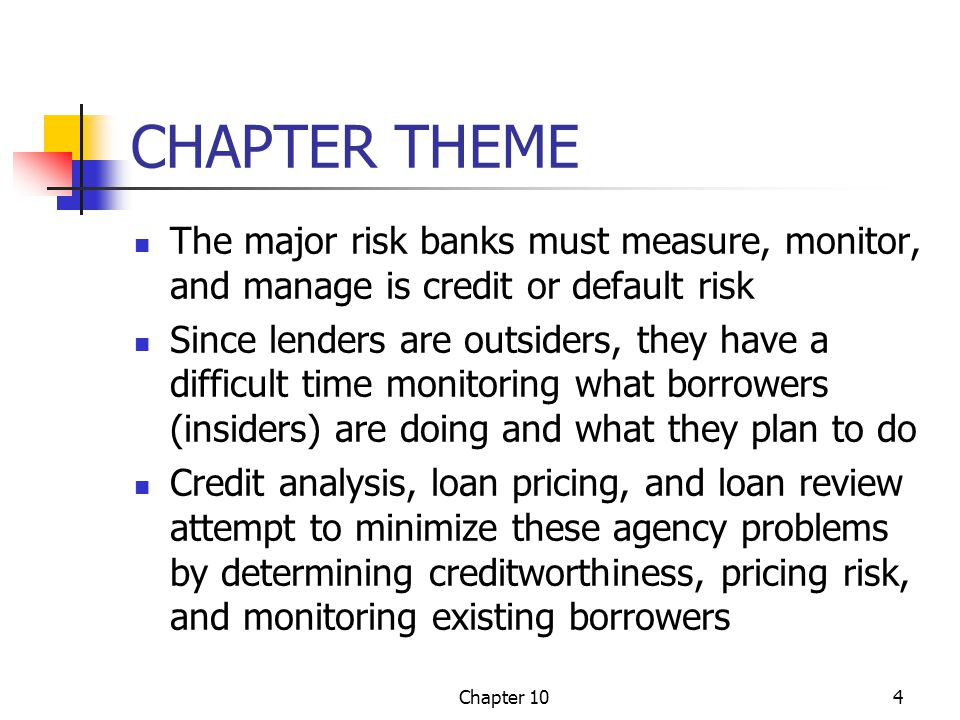 CHAPTER THEME The major risk banks must measure, monitor, and manage is credit or default risk.