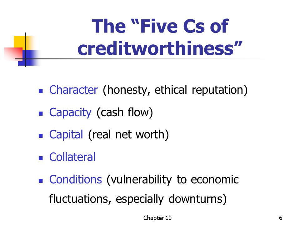 The Five Cs of creditworthiness