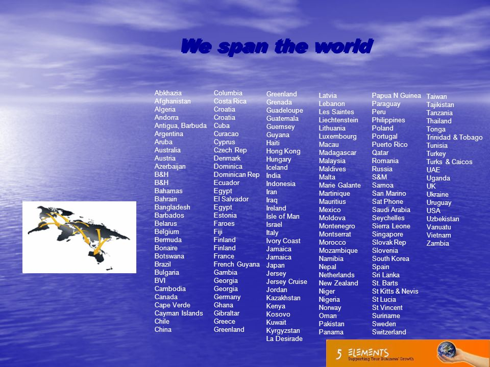 We span the world Abkhazia Afghanistan Algeria Andorra