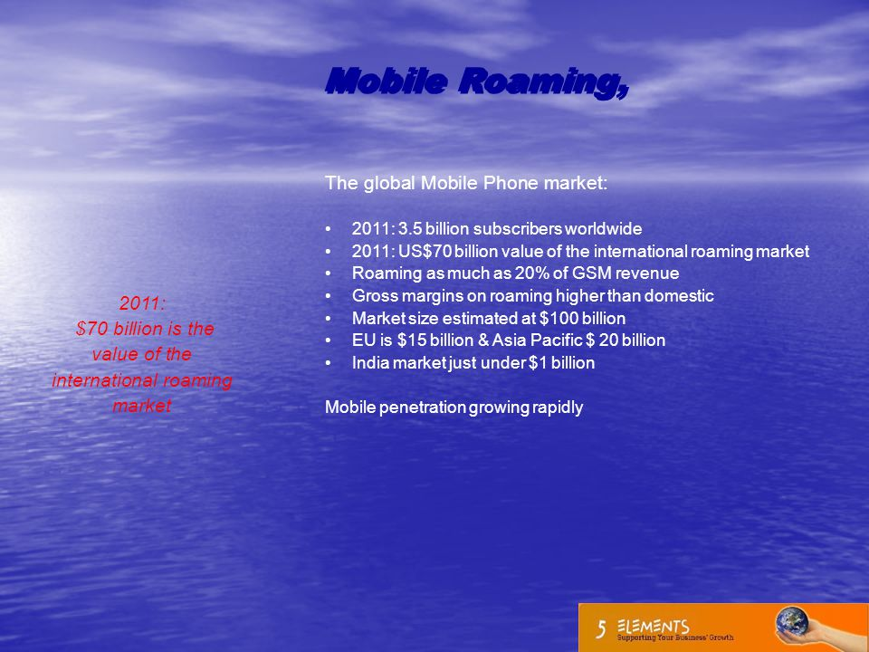 2011: $70 billion is the value of the international roaming market