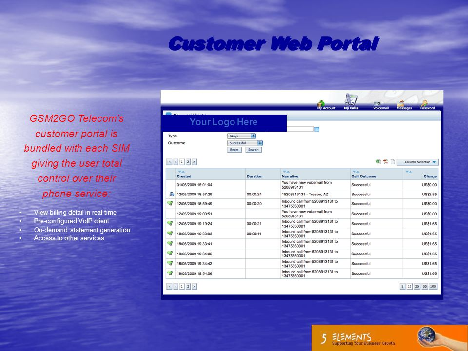 Customer Web Portal GSM2GO Telecom's customer portal is bundled with each SIM giving the user total control over their phone service: