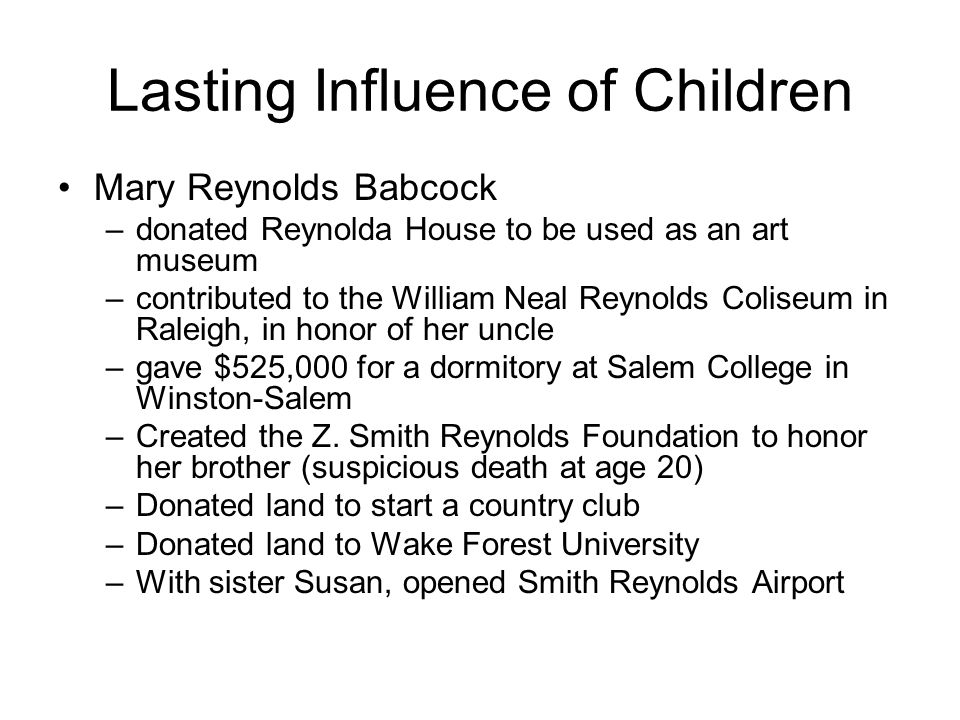 Lasting Influence of Children
