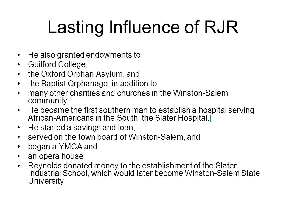 Lasting Influence of RJR