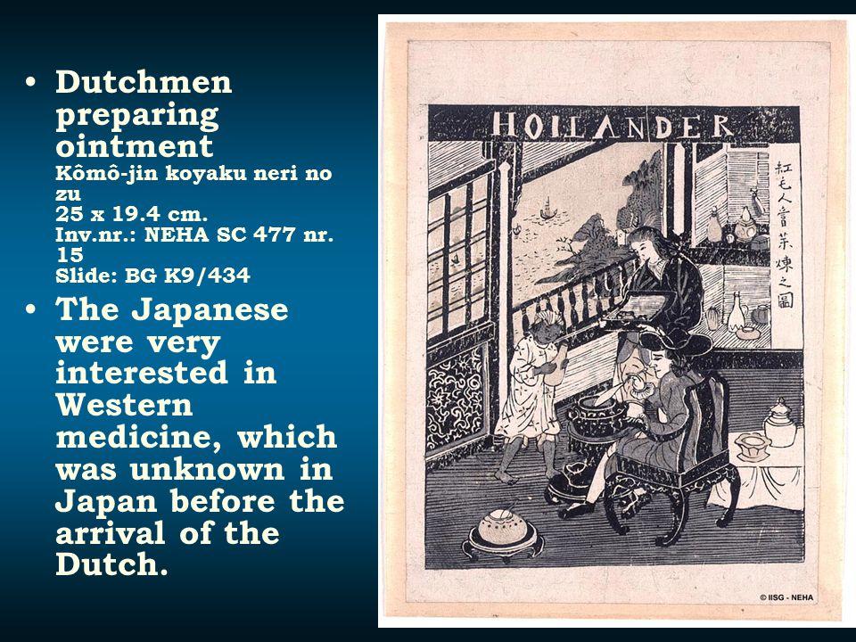 Dutchmen preparing ointment Kômô-jin koyaku neri no zu 25 x 19. 4 cm