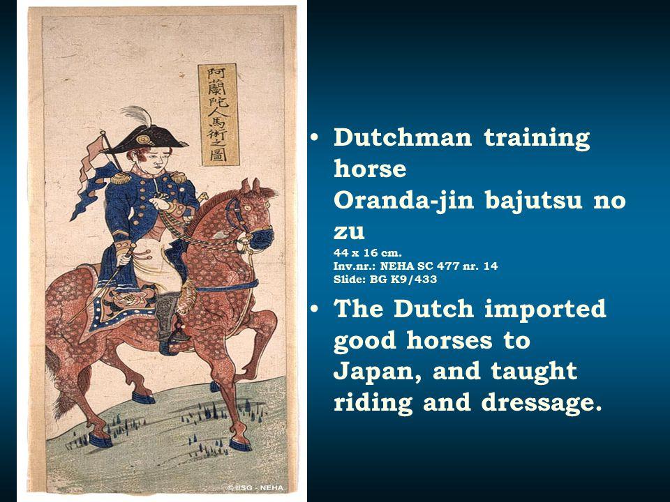 Dutchman training horse Oranda-jin bajutsu no zu 44 x 16 cm. Inv. nr