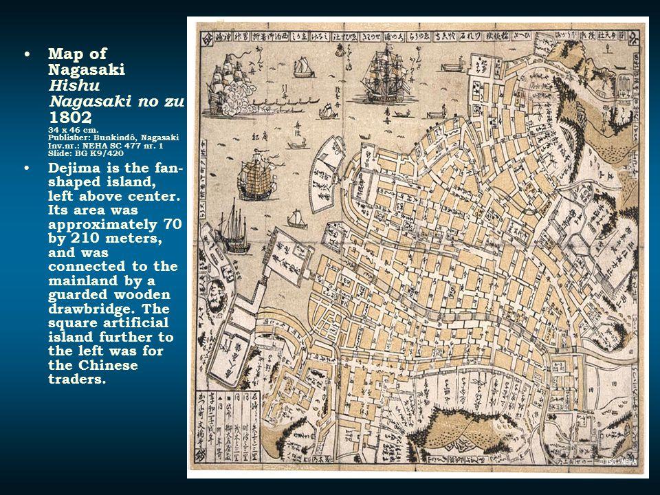 Map of Nagasaki Hishu Nagasaki no zu 1802 34 x 46 cm