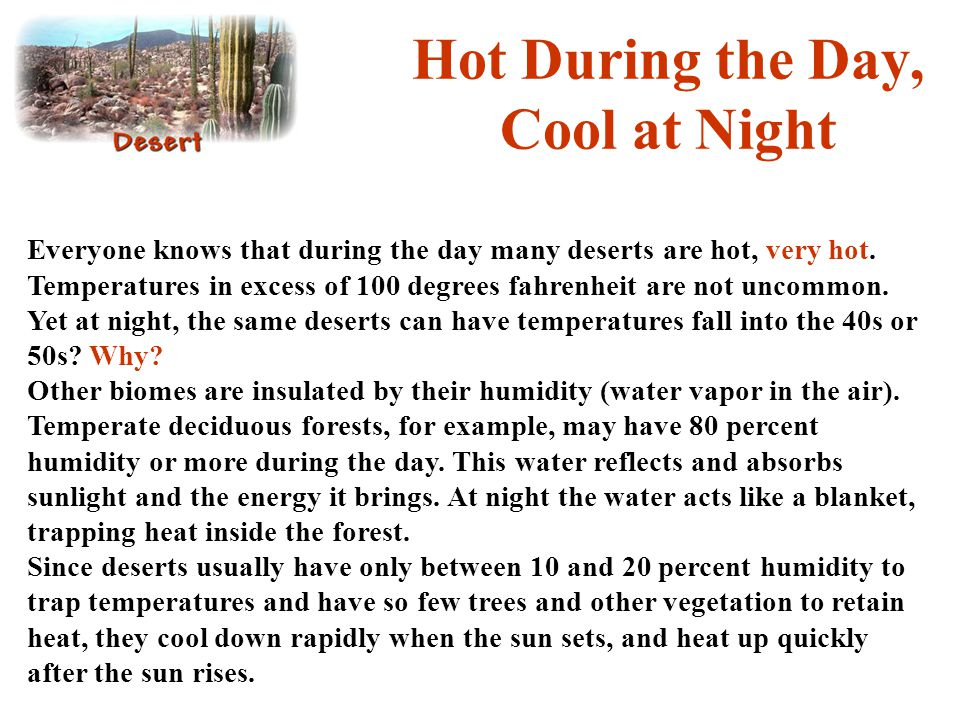 Hot During the Day, Cool at Night