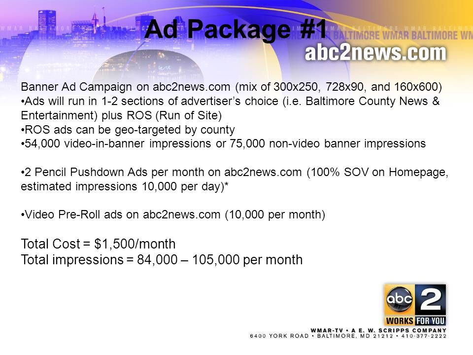Ad Package #1 Total Cost = $1,500/month