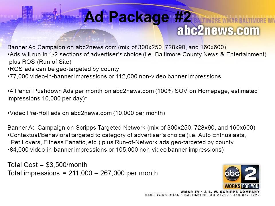 Ad Package #2 Total Cost = $3,500/month