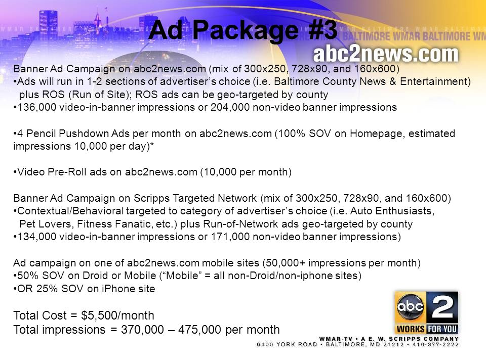 Ad Package #3 Total Cost = $5,500/month