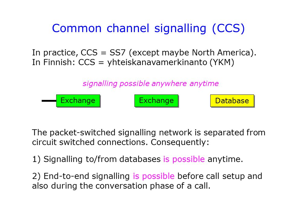 Common channel signalling (CCS)