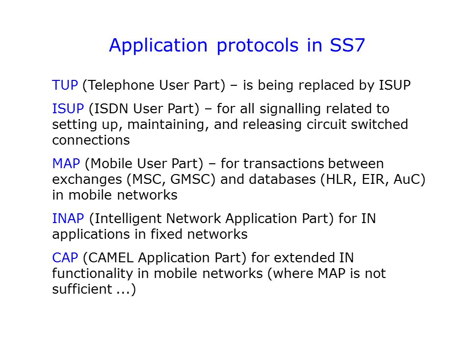 Application protocols in SS7