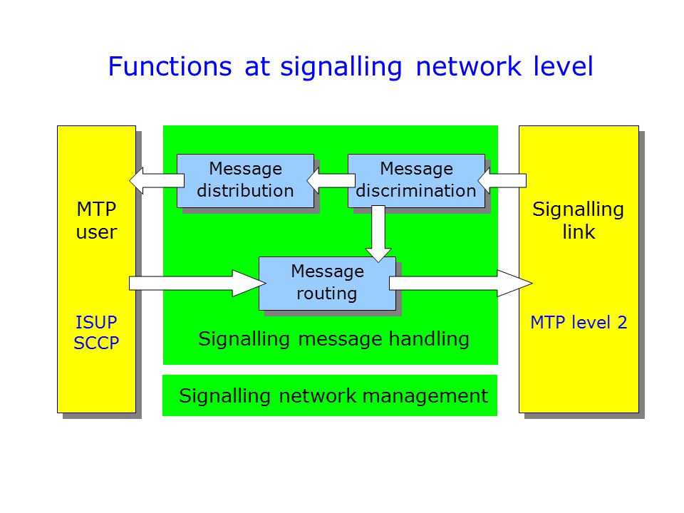 Functions at signalling network level