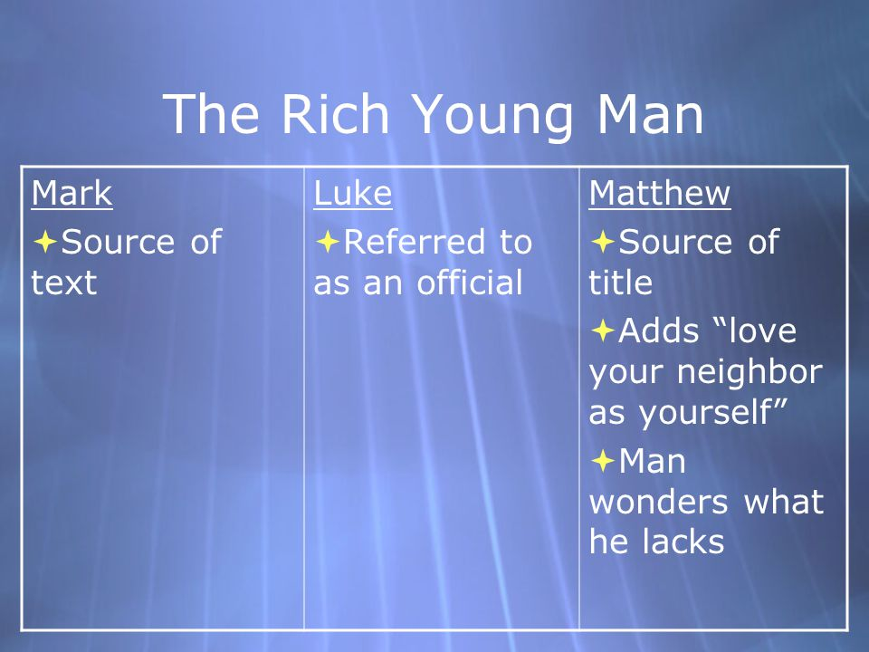 The Rich Young Man Mark Source of text Luke Referred to as an official
