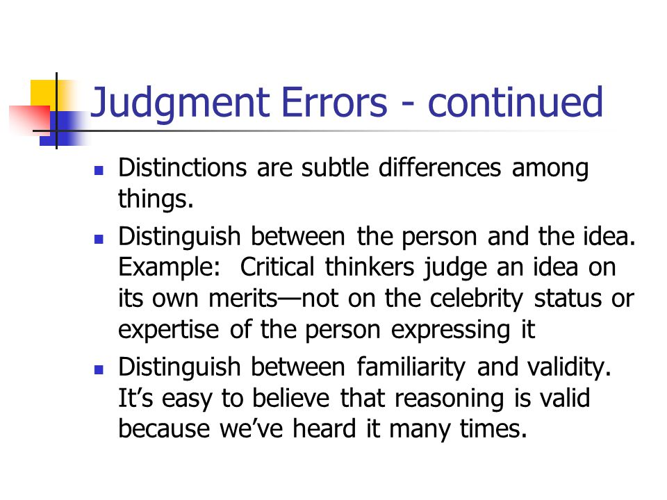 Judgment Errors - continued