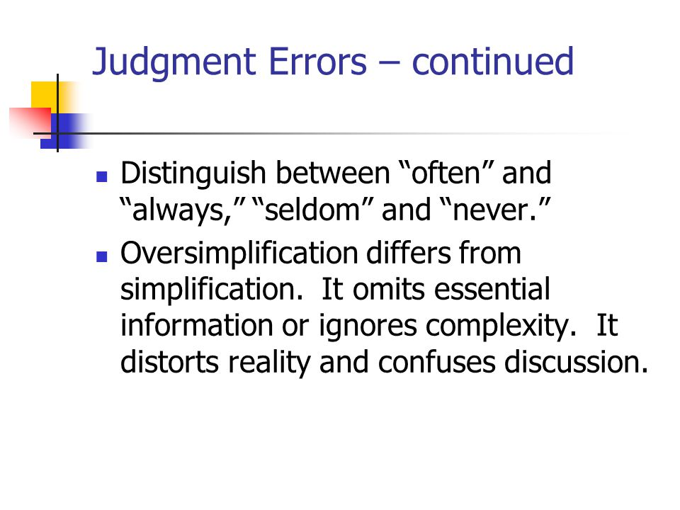 Judgment Errors – continued