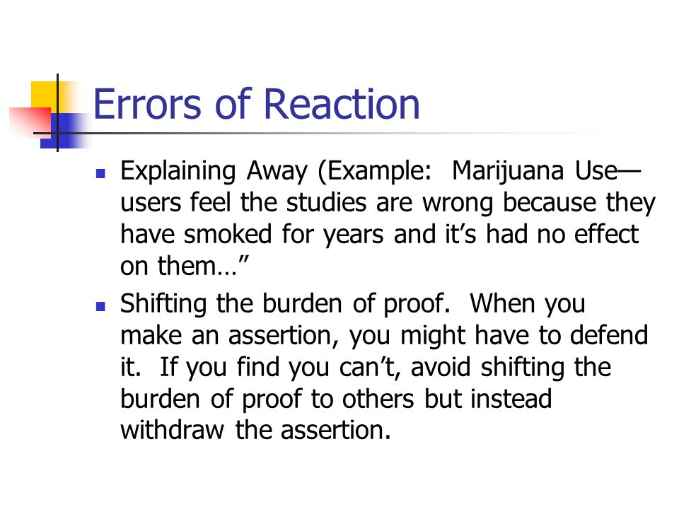 Errors of Reaction