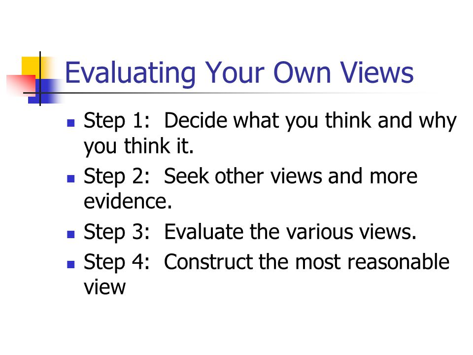 Evaluating Your Own Views