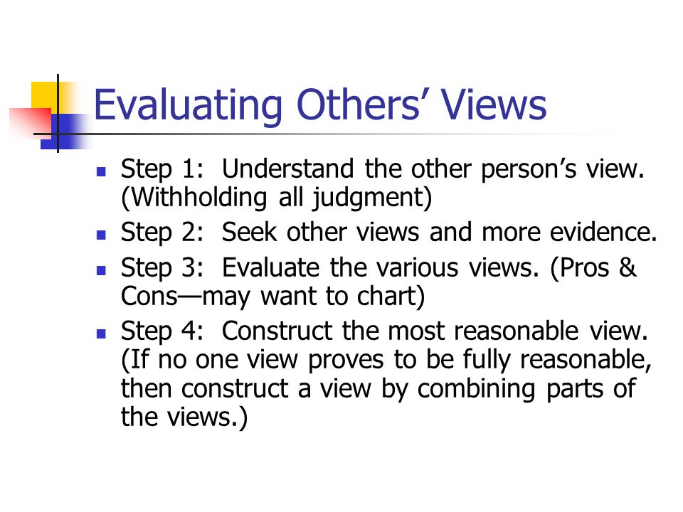 Evaluating Others' Views