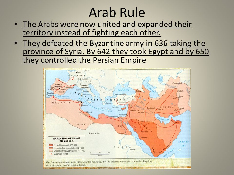 Arab Rule The Arabs were now united and expanded their territory instead of fighting each other.