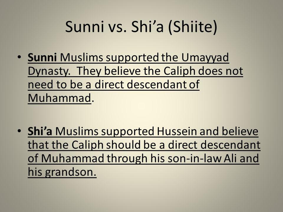 Sunni vs. Shi'a (Shiite)