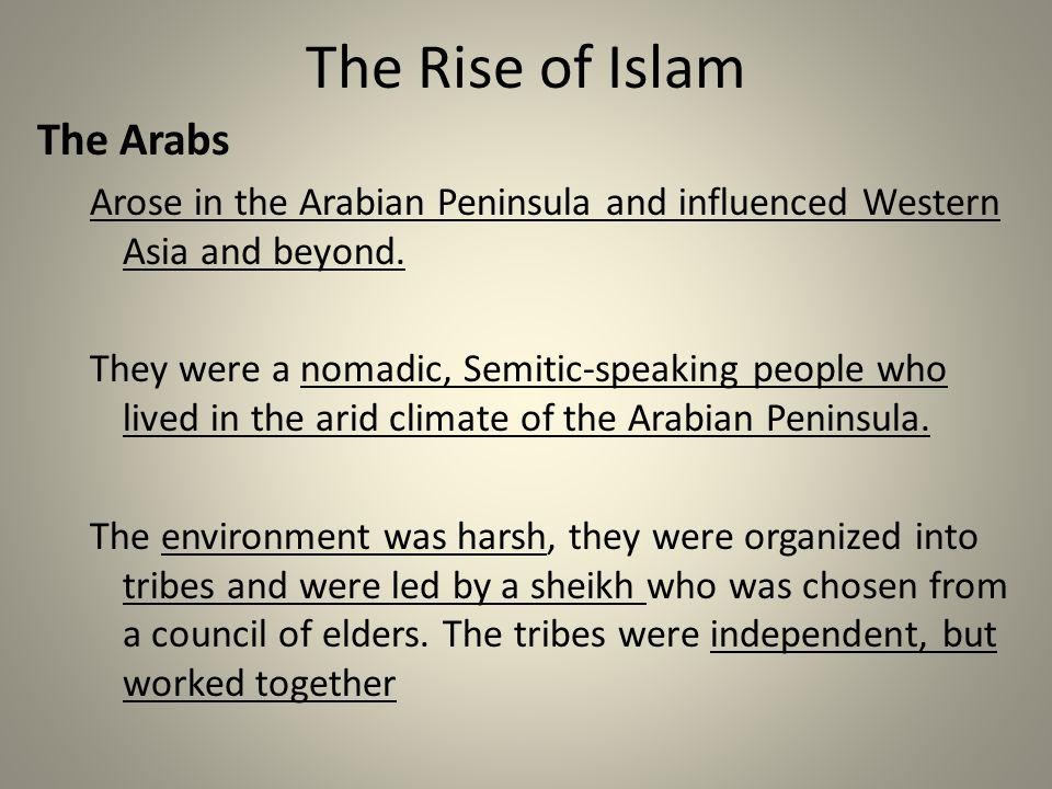 The Rise of Islam The Arabs