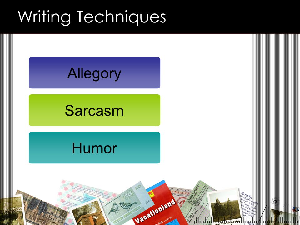 Writing Techniques Allegory Sarcasm Humor