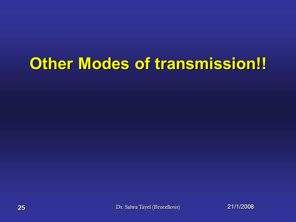 Other Modes of transmission!!