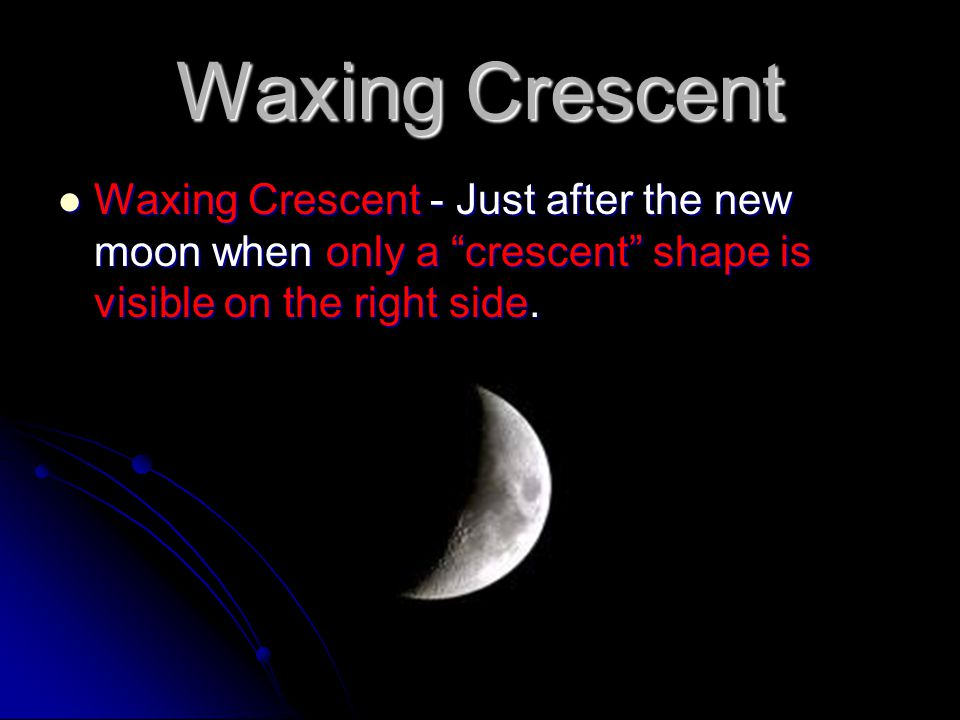 Waxing Crescent Waxing Crescent - Just after the new moon when only a crescent shape is visible on the right side.