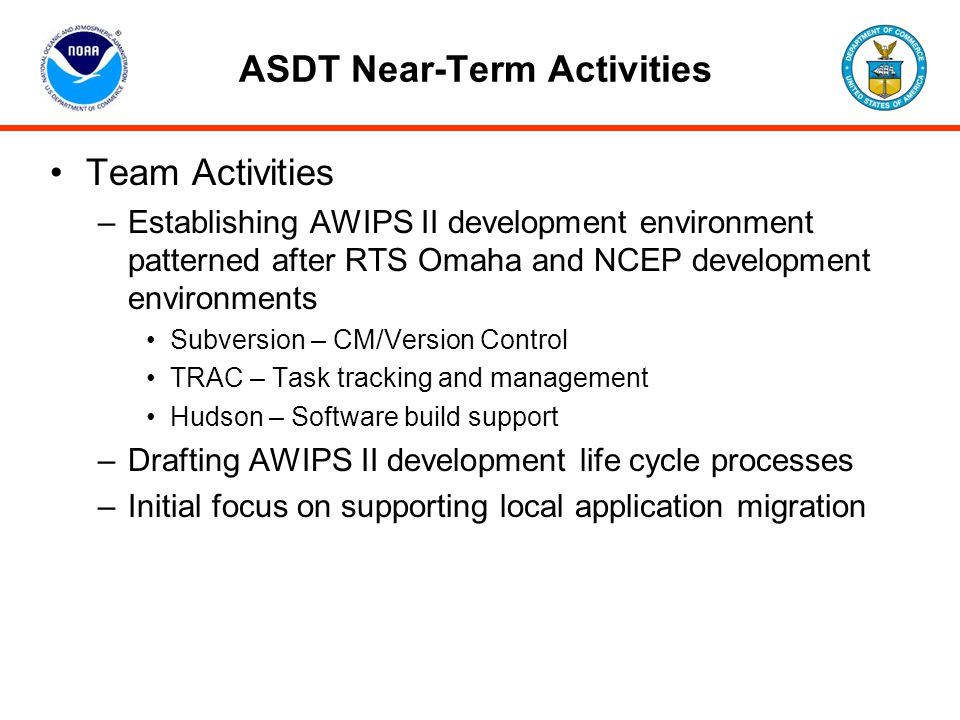 ASDT Near-Term Activities