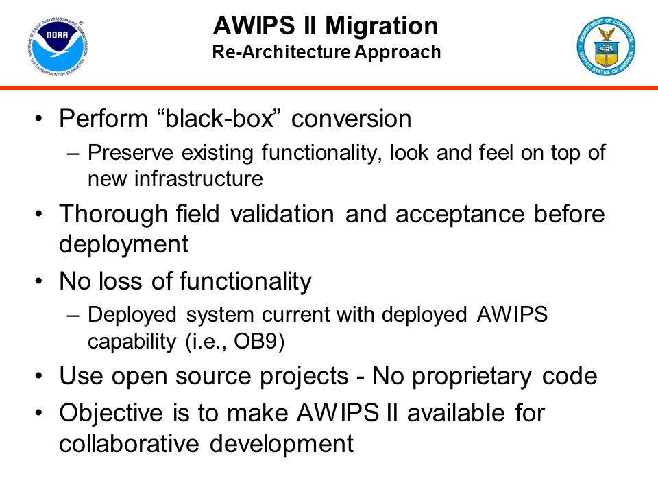 AWIPS II Migration Re-Architecture Approach